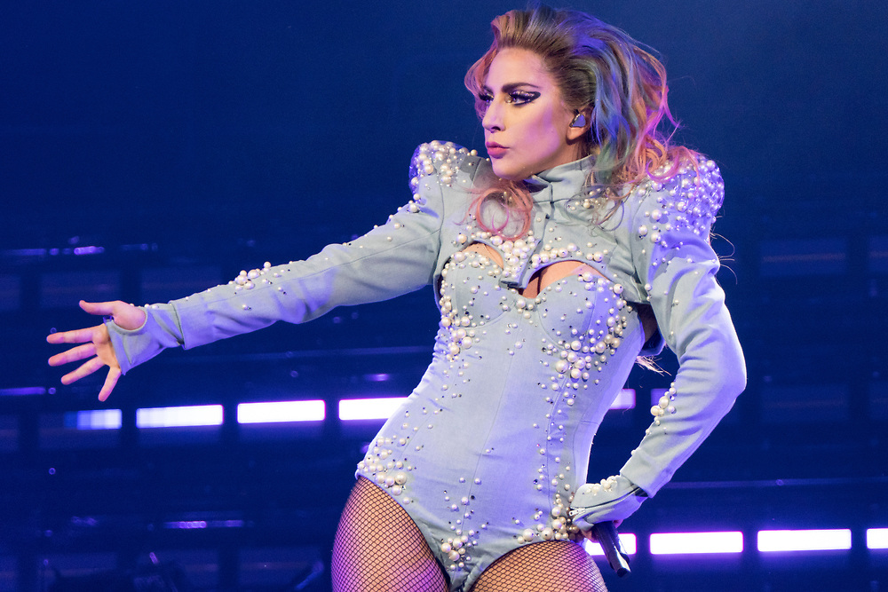 Lady Gaga performs for her Joanne World Tour at the Quicken Loans Arena in Cleveland, OH on August 23, 2017.