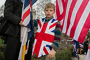 After threee and a half years of political upheavel in the British parliament, a young Brexiteer celebrates in Westminster on Brexit Day, the day when the UK legally leaves the European Union, on 31st January 2020, in London, England.