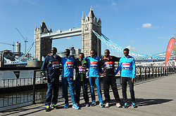 Elite Men Runners attends the celebrity runners London Marathon photocall at Tower Bridge, London, UK.<br /> Wednesday, 9th April 2014. Picture by Chris Joseph / i-Images