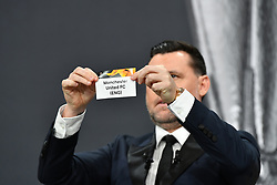 NYON, SWITZERLAND - Monday, December 14, 2020: Former Portugal player Maniche draws out Manchester United FC during the UEFA Europa League 2020/21 Round of 32 draw at the UEFA Headquarters, the House of European Football. (Photo Handout/UEFA)