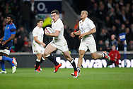 George Ford of England breaks through to score their first try in the second half during the RBS 6 Nations match at Twickenham Stadium, Twickenham<br /> Picture by Andrew Tobin/Focus Images Ltd +44 7710 761829<br /> 21/03/2015