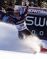 Alpint, 30.11.2001 Lake Louise, Kanada,<br />Die Schweizerin Sylviane Berthod jubelt nach ihrem zweiten Platz am Freitag (30.11.2001) bei der Ski Alpin Weltcup Abfahrt der Damen in Lake Louise, Kanada.<br />Foto: Digitalsport