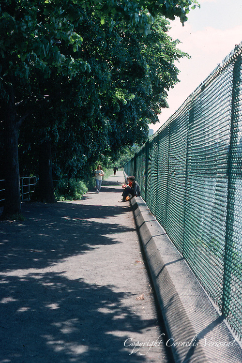 The Reservoir and running track with its high ugly fence in Central Park,1980.