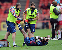 Rugby Union - 2020 / 2021 Gallagher Premiership - Semi-Final - Bristol Bears vs Harlequins - Ashton Gate<br /> <br /> Semi Radradra of Bristol gets treated for cramp in both legs before the extra time period<br /> <br /> Credit : COLORSPORT/Andrew Cowie