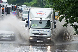 © Licensed to London News Pictures 17/06/2021. Aylesford, UK. Heavy flooding to the A20 London road in Aylesford, Kent, near Maidstone. Torrential rain brings flooding to Kent roads with more expected in the coming days as the heatwave ends. Photo credit:Grant Falvey/LNP