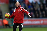 Alan Curtis, the Swansea city assistant manager throws the ball .Barclays Premier league match, Swansea city v Norwich city at the Liberty Stadium in Swansea, South Wales  on Saturday 5th March 2016.<br /> pic by  Andrew Orchard, Andrew Orchard sports photography.