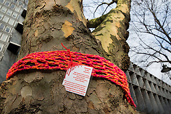 London, UK. 13th January, 2018. A plane tree in Euston Square Gardens is wrapped with a hand-knitted scarf bearing a message referring to arboricide. Activists opposed to the HS2 high-speed rail link have 'yarn-bombed' many of the more than 200 large trees in Euston Square Gardens expected to be felled to make way for temporary sites for construction vehicles and a displaced taxi rank as part of preparations for the controversial HS2 project in order to draw attention to their fate.