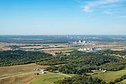 Aerial photograph of Omaha, Nebraska and Council Bluffs, Iowa, USA.