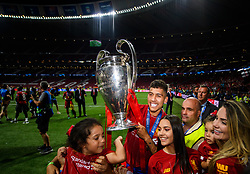 June 2, 2019 - Madrid, Spain - 190602 Roberto Firmino of Liverpool celebrates with the throphy after the UEFA Champions League final between Tottenham and Liverpool on June 2, 2019 in Madrid..Photo: Petter Arvidson / BILDBYRÃ…N / kod PA / 92302 (Credit Image: © Petter Arvidson/Bildbyran via ZUMA Press)
