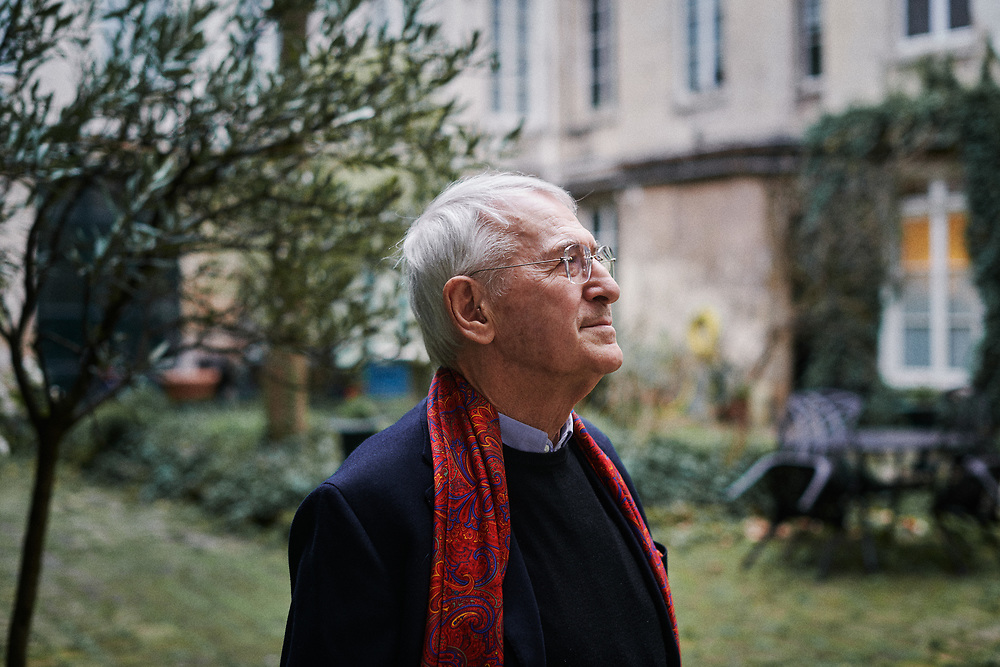 Manfred Kets de Vries, a management scholar and psychoanalyst, professor of leadership development and organizational change at INSEAD, posing at home. Paris, France. March 10, 2020.