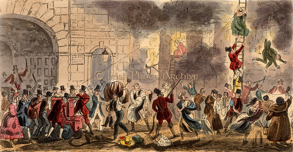 Fireman using hand fire pump fighting fire at a the House of Accommodation (brothel). At bottom right the night watchman or 'Charley' is swinging his rattle to raise the alarm while the prostitutes and their customers are escaping from the building in various states of dress and undress. Illustration by Cruikshank for Pierce Egan 'Life in London', 1821.