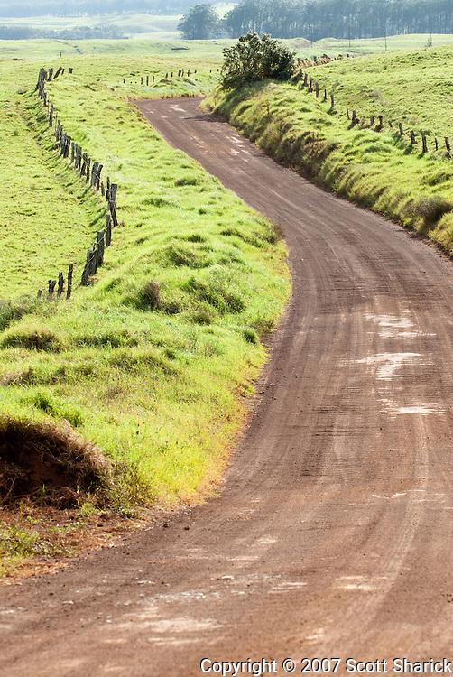 Mana road curves around the east side of Mauna Kea on the Big Island of Hawaii.