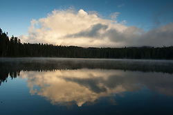 Mt. Adams Behind the Clouds and Takhlakh Lake, Gifford Pinchot National Forest, Washington, US