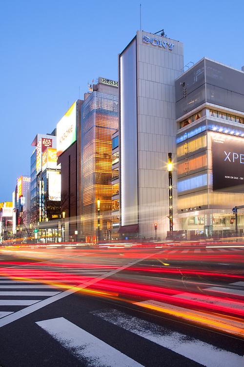 Ginza, Tokyo, Kanto Region, Honshu, Japan, Asia - High end stores at Sukiyabashi crossing in Ginza neighborhood.