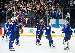 Yohann Auvitu of France, Florian Hardy of France and other players of France celebrate after winning during the 2017 IIHF Men's World Championship group B Ice hockey match between National Teams of Finland and France, on May 7, 2017 in Accorhotels Arena in Paris, France. Photo by Vid Ponikvar / Sportida
