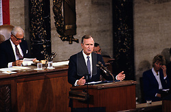 United States President George H.W. Bush speaks to a Joint Session of the U.S. Congress on the situation with Iraq and the Persian Gulf and on the federal deficit in the U.S. Capitol in Washington, D.C. on September 11, 1990. Photo by Ron Sachs / CNP /ABACAPRESS.COM