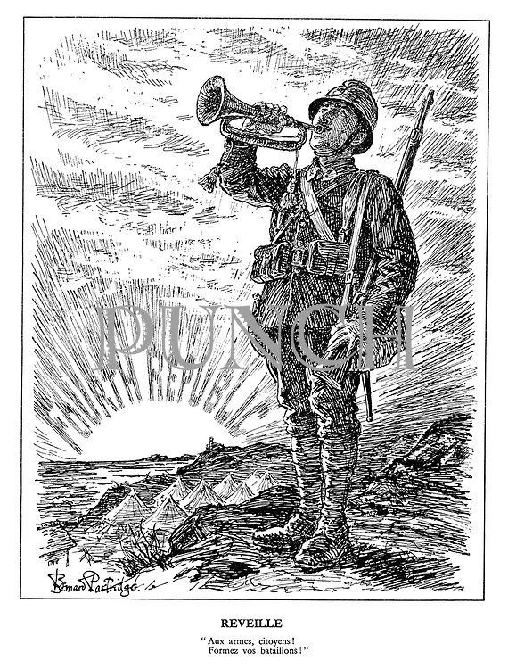 "Reveille. ""Aux armes, citoyens! Formez vos bataillons!"" (a French bugler sounds the call to battle amid the sunrise of the Fourth Republic: To Arms Citizens! Form Your Batallions!)"