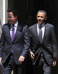 © licensed to London News Pictures. LONDON, UK  25/05/11. Barak Obama and David Cameron meet in Downing Street during US President Obama's first State Visit to the United Kingdom. Please see special instructions. Photo credit should read Stephen Simpson/LNP