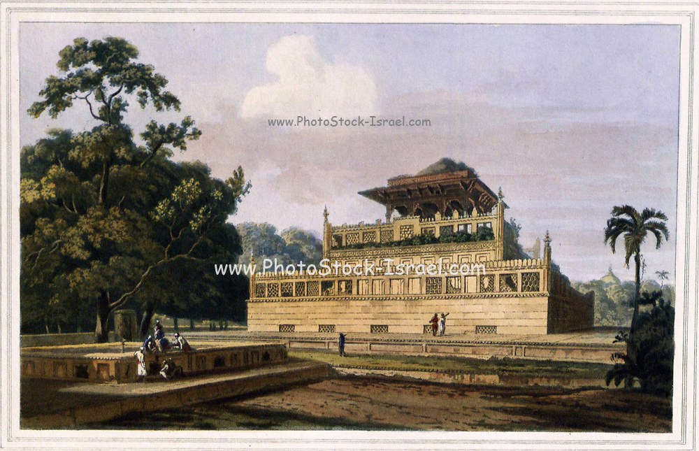 Mausoleum of the Ranee, Wife of the Emperor Jehangire, near Allahbad , 1801 From the book ' Oriental scenery: one hundred and fifty views of the architecture, antiquities and landscape scenery of Hindoostan ' by Thomas Daniell, and William Daniell, Published in London by the Authors May 1, 1813