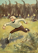 Chased by a herd of elephants From the book Mr. Munchausen; being a true account of some of the recent adventures beyond the Styx of the late Hieronymus Carl Friedrich, sometime Baron Munchausen of Bodenwerder, as originally reported for the Sunday edition of the Gehenna Gazette by its special interviewer the late Mr. Ananias formerly of Jerusalem and now first transcribed from the columns of that journal. by Bangs, John Kendrick, (1862-1922) Published in Boston by Noyes, Platt & company 1901 with artwork by Peter Newell
