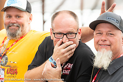 Custom bike builders Dan Rognsvoog, Bryan Stalcup and Tim Scates at the Flying Piston Builder Breakfast at the Buffalo Chip during the 78th annual Sturgis Motorcycle Rally. Sturgis, SD. USA. Sunday August 5, 2018. Photography ©2018 Michael Lichter.