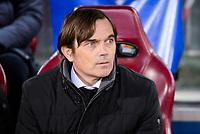 PSV Eindhoven's coach coach Phillip Cocu and Unai Bustinza during a match of La Liga at Santiago Bernabeu Stadium in Madrid. November 06, Spain. 2016. (ALTERPHOTOS/BorjaB.Hojas)