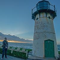 Ice plant surrounts the Point Montara Lighthouse, in Montara, California.