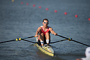Plovdiv BULGARIA. 2017 FISA. Rowing World U23 Championships. <br /> SUI BM1X. HABERTHUER, Niklaus.<br /> Wednesday. PM,  Heats 18:05:05  Wednesday  19.07.17   <br /> <br /> [Mandatory Credit. Peter SPURRIER/Intersport Images].