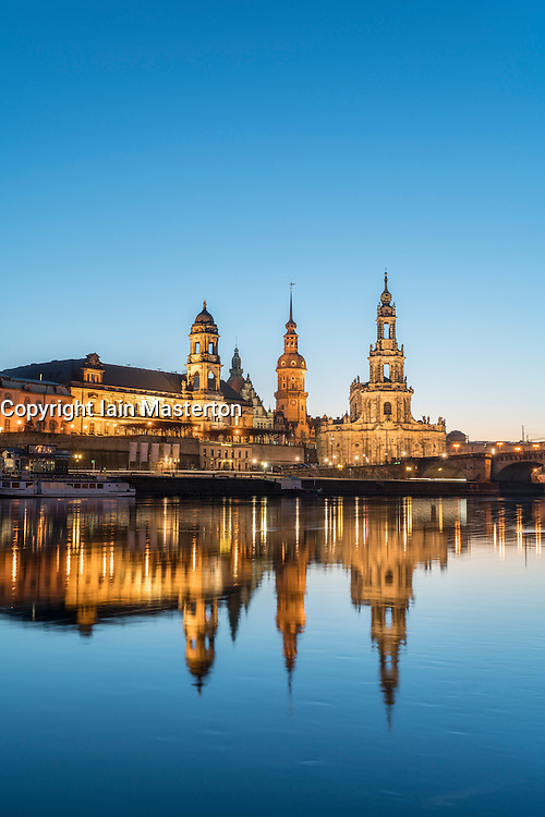 Night skyline of city of Dresden and Elbe River in Saxony, Germany.