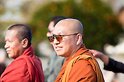 16 JANUARY 2012 - MESA, AZ: Buddhist monks lead the parade on Martin Luther King Day in Mesa, AZ, Monday, Jan. 16. Hundreds of people participated in the parade which marched through downtown Mesa.    PHOTO BY JACK KURTZ