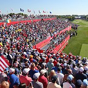 Ryder Cup 2016. Day One. J.B. Holmes of the United States tees off at the first hole in the Friday afternoon four-ball competition during the Ryder Cup at  Hazeltine National Golf Club on September 30, 2016 in Chaska, Minnesota.  (Photo by Tim Clayton/Corbis via Getty Images)
