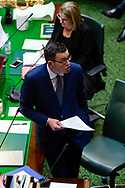 Embattled Premier Daniel Andrews deflects pointed questions over the latest scandal to hit his government during Question Time. Government in Crisis as secret tapes reveal industrial scale branch stacking and corruption accusations towards labor senior Minister Adem Somyurek, along with two other ministers Marlene Kairouz and Robin Scott. Premier Daniel Andrews sacked Mr Somyurek and both Ms Kairouz and Mr Scott later resigned. Premier Andrews denies any knowledge of the of the scandal and repercussions will ripple all the way up to the Federal Labor Party. (Photo by Dave Hewison/ Speed Media)