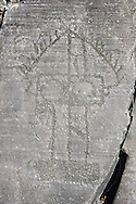 Petroglyph, rock carving, of a house on stilts. Carved by the ancient Camuni people in the iron age between 1000-1200 BC. Rock no 6, Foppi di Nadro, Riserva Naturale Incisioni Rupestri di Ceto, Cimbergo e Paspardo, Capo di Ponti, Valcamonica (Val Camonica), Lombardy plain, Italy .<br /> <br /> Visit our PREHISTORY PHOTO COLLECTIONS for more   photos  to download or buy as prints https://funkystock.photoshelter.com/gallery-collection/Prehistoric-Neolithic-Sites-Art-Artefacts-Pictures-Photos/C0000tfxw63zrUT4<br /> If you prefer to buy from our ALAMY PHOTO LIBRARY  Collection visit : https://www.alamy.com/portfolio/paul-williams-funkystock/valcamonica-rock-art.html