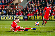 Wales midfielder Ryan Hedges on the ball during the Friendly European Championship warm up match between Wales and Trinidad and Tobago at the Racecourse Ground, Wrexham, United Kingdom on 20 March 2019.