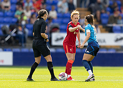 BIRKENHEAD, ENGLAND - Sunday, August 29, 2021: Liverpool's captain Rachel Furness and London City Lionesses' Harley Bennett bump fists before the FA Women's Championship game between Liverpool FC Women and London City Lionesses FC at Prenton Park. London City won 1-0. (Pic by Paul Currie/Propaganda)