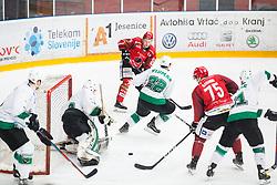 Luka VIDMAR vs Tadej CIMZAR during  First league between HDD Acroni Jesenice vs HK SZ Olimpia, on April 23, 2019 in Jesenice, Slovenia. Photo by Peter Podobnik / Sportida