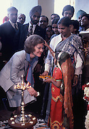 Rosalyn Carter India recievs the traditiaon welcome of a child placing a red mark on her forhead.  President Carter visits India on January 1, 1978<br /> Photo by Dennis Brack
