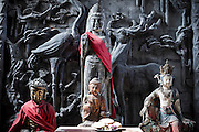 Some statues of Buddha are seen in a temple in Pingyao, China, July 29, 2014.<br /> <br /> Confucianism, Taoism and Buddhism are the three major religions in China. Temples and statues witness their ancient roots all over the Chinese country.<br /> <br /> © Giorgio Perottino