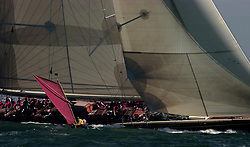 Americas Cup Jubilee, Shamrock, Sir Thomas Liptons' J Class challenger passes a small spectator in the round the Island race 2001.<br /> <br /> Liptons unsuccessful attempts were the closest in the cups history. <br /> <br /> Marc Turner  PFM Pictures