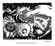 Lust for Life Vincent : Van Gogh — Kirk Douglas (a film review cartoon showing Kirk Douglas as Vincent Van Gogh).
