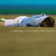 Ned Grabavoy, NYCFC, reacts after missing a great chance late in the game during the New York City FC Vs Sporting Kansas City, MSL regular season football match at Yankee Stadium, The Bronx, New York,  USA. 27th March 2015. Photo Tim Clayton