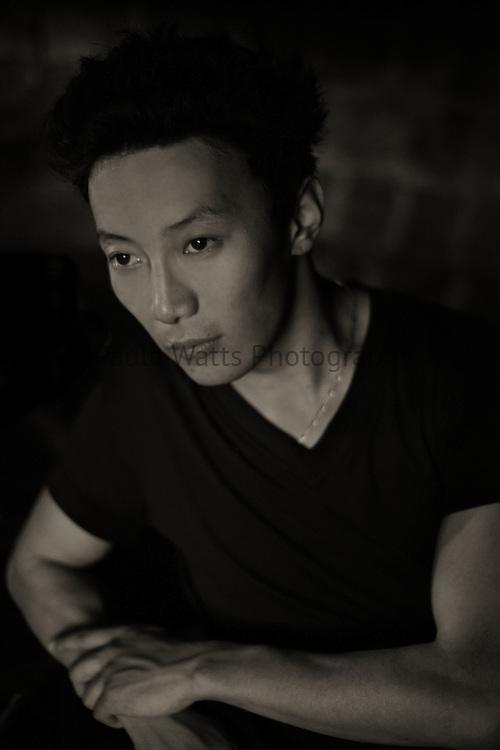 Asian male model in editorial fashion headshot