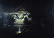 Moon reflected in a lake'.  Dutch School, 17th century. Oil on canvas.