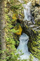 Arch Falls, Hyalite Canyon, Bozeman, Montana.   The cool little waterfall is about a two mile hike.