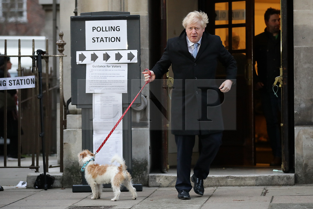 © Licensed to London News Pictures. 12/12/2019. London, UK. Prime Minister Boris Johnson at Methodist Central Hall to cast his vote in the 2019 General Election. Photo credit: Rob Pinney/LNP