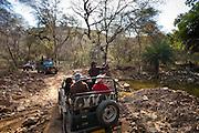 Tour groups of eco-tourists in Maruti Suzuki Gypsy King 4x4 vehicle at waterhole in Ranthambhore National Park, Rajasthan, India