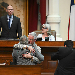 State Rep. Dan Huberty hugs his Senate colleague, Sen. Larry Taylor, R-Friendswood, after passage of HB-3 on a unanimous vote on May 25, 2019 at the Texas Legislature.  Photo by Bob Daemmrich