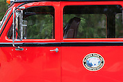 Red Bus in Glacier National Park, Montana.
