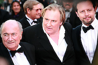 Sepp Blatter, Gerard Depardieu and Frederic Auburtin, at the The Homesman gala screening red carpet at the 67th Cannes Film Festival France. Sunday 18th May 2014 in Cannes Film Festival, France.