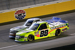 September 14, 2018 - Las Vegas, NV, U.S. - LAS VEGAS, NV - SEPTEMBER 14: Matt Crafton (88) Ideal Door, Menards ThorSport Racing Ford F-150 and Johnny Sauter (21) Allegiant Chevrolet Silverado race side-by-side late for the lead during the World of Westgate 200 NASCAR Camping World Truck Series Playoff Race on September 14, 2018, at Las Vegas Motor Speedway in Las Vegas, NV. (Photo by David Griffin/Icon Sportswire) (Credit Image: © David Griffin/Icon SMI via ZUMA Press)